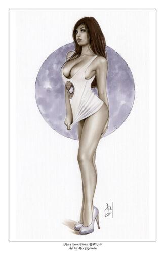 MARY JANE - Sexy Original Pin-Up Print by Lady Death Artisit ALEX MIRANDA