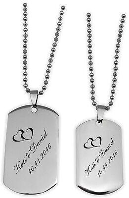 DogTags Erkennungsmarken Silber Partner für Sie und Ihn mit Gravur Wunschtext