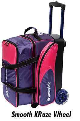 Brunswick Flash C 2 Ball Roller Bowling Bag with URETHANE WHEELS Purple/Pink