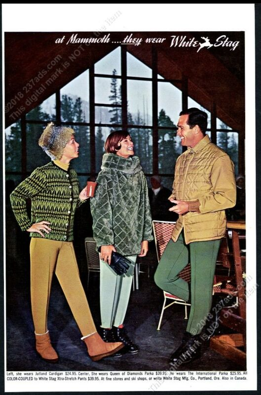 1961 Mammoth ski area California photo White Stag stretch pants parka vintage ad