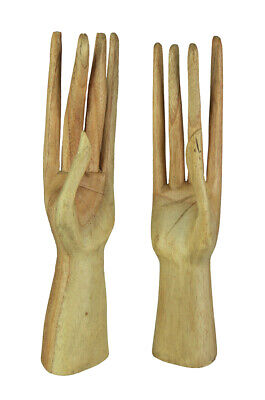 Hand Crafted Stand Up Wooden Hands Jewelry Holder Display Stand 2 Piece Set