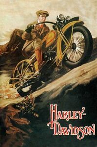 Vintage-Harley-Davidson-24-x36-Canvas-Motorcycle-Poster-on-Canvas