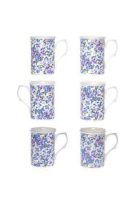 FORGET ME NOT CHINTZ SET OF 6 10 Fl Oz BONE CHINA BEAKERS/ MUGS gift boxed