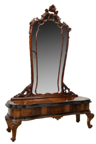 Mirrored Vanity, Venetian, Walnut, Black Glass Top, Amazing Piece !!!