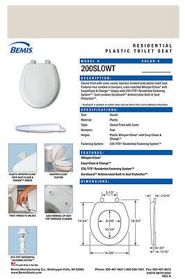 Bemis 200SLOWT 341 Round Plastic Slow Close Toilet Seat JERSEY
