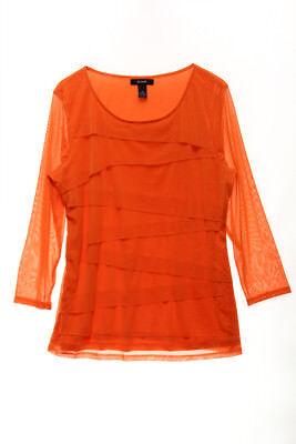 ALFANI $59 NEW 21842 Tiered Sheer Sleeve Womens Top M