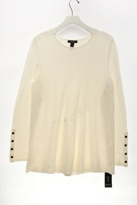 ALFANI $69.5 NEW 23513 Ribbed Snap-Detail Sweater Womens Top M