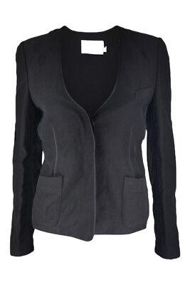 ALEXANDER WANG Black Silk Mix Button Front Jacket (UK 8)