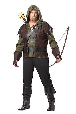 Erwachsene Herren Übergröße Robin Hood Mittelalterlich Gothik Bogenschütze - Übergröße Robin Kostüm
