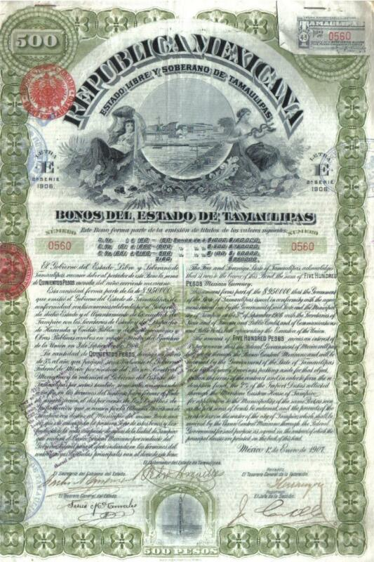 Original Mexico 1907 Bond Loan State Tamaulipas $500 UNCANCELLED DECO coupons