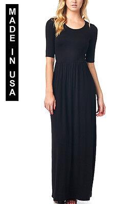 82 Days Womens Rayon Span Jersey Maxi Long Dress With Elastic Waistband   Usa