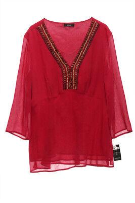 ALFANI NEW 21938 V-Neck Emballished Chiffon Womens Top XXL