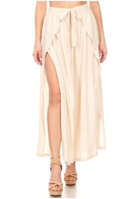 (YADO) High Waisted Layered Wrap Pants,Relax Fit,Waist Tie,Wide Legs and Slit