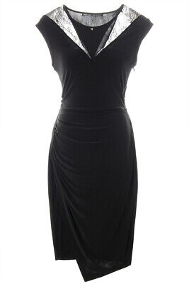GEUSS NEW 14927 Lace Trim Ruched Jersey Womens Dress L