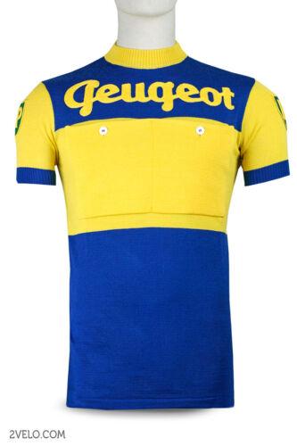 PEUGEOT BP blue / yellow vintage wool jersey, new, never worn XL