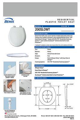 Bemis 200SLOWT-062 Round Plastic Slow Close Toilet Seat - ICE GREY