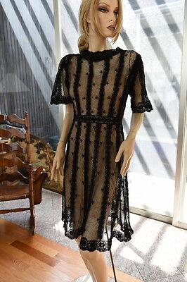 LIM'S VINTAGE HAND CROCHET COTTON DRESS BUTTONED BACK GORGEOUS Black M