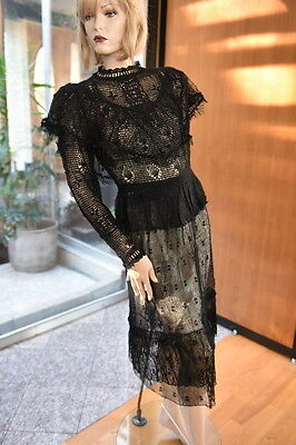 LIM'S VINTAGE ALL HAND MADE HAND CROCHET TOP & SKIRT SET M BLACK M