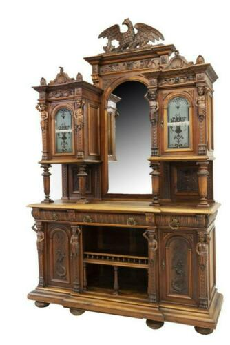 IMPRESSIVE ITALIAN HEAVILY CARVED WALNUT SIDEBOARD, 19th C. ELITE COLLECTION!!