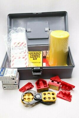 Brady Portable Lockout Kit Filled Electric Lockout Tool Box Gray