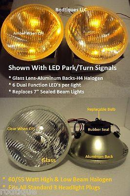 "7"" Round Hidden LED Turn Signal & Parking Light Headlights Running Pair - 3"