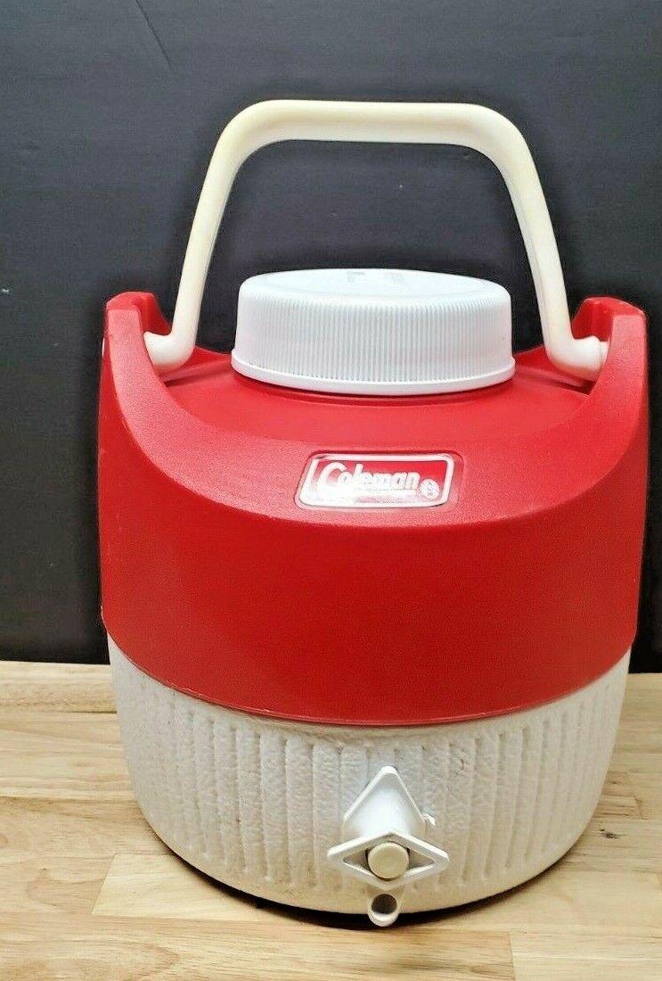 vtg 1 gallon red white water cooler