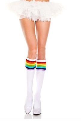 Ladies/Womens Knee Hi Referee socks striped top socks cotton