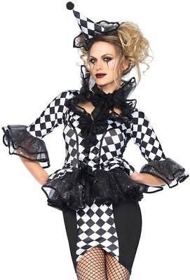 Pretty Pirouette Clown Sexy Adult Halloween Cosplay Jester Costume M  (Pretty Clown Costume)