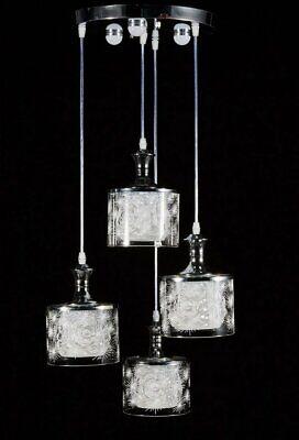 Diamond Life Modern LED Chandelier Chrome Finish Glass Shade 4-light Ceiling Fix