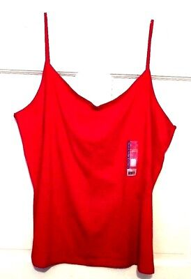 Womens Camisole Top Red Faded Glory Soft Comfort Stretch Cotton Spandex NWT -