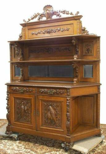 Antique Sideboard, Hunt, French Oak Relief, Carved Wood, 19th C., Gorgeous!!