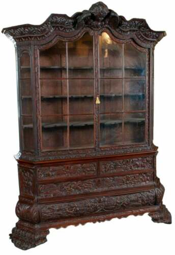 Antique Bookcase, Ornate Highly Carved Wooden Bookcase W / Glass Doors, 1800