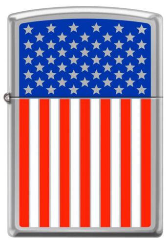 American Flag Engraved Red White & Blue Polished Chrome Patriotic Zippo Lighter