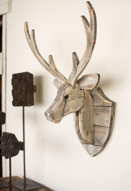Recycled Wood Deer Head Wall Sculpture Rustic Cabin Lodge Moose Elk Antlers