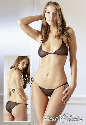 Bikini Sexy Women Transparent See Through Wafer Thin, Fabric Cute Set -Lingerie