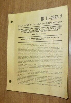 Tb 11-2627-2 Us Army Tube Tester Data Cards I-177 I-177a I-177b Mx-949u