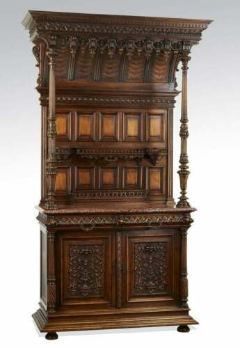 Antique French Buffet / Sideboard, carved, marble top , 19th century ( 1800s )