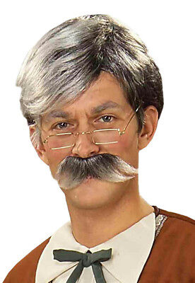 Grey Moustache And Wig (Gepetto Gray Wig and Mustache)