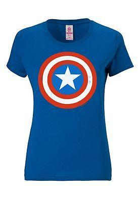 LOGOSHIRT - Marvel Comics - Captain America - Logo - Frauen Damen T-Shirt, blau