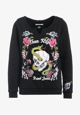 TRUE RELIGION Sweatshirt mit Stickereien aus Baumwolle, L, Neu (True Religion Shirt Schwarz)