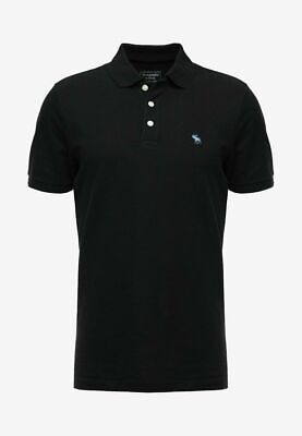 Abercrombie & Fitch STRETCH CORE NEUTRAL - Polo shirt - black MENS...
