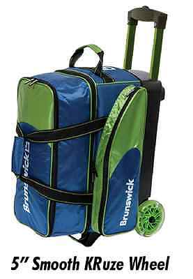 Brunswick Flash C 2 Ball DoubleRoller Bowling Bag with URETHANE WHEELS Navy/Lim