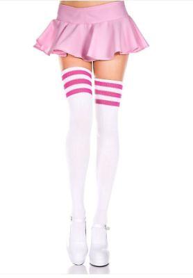 Ladies/Womens Thigh Hi Referee socks striped top socks cotton