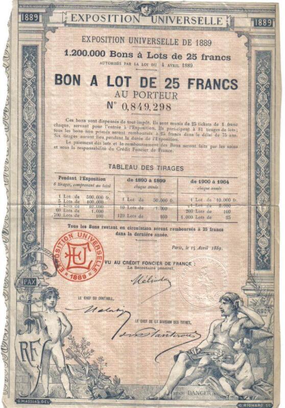Original France Bond Paris 1889 Exposition Universelle 25 franc DECO Uncancelled