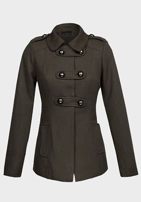 Double-breasted-design (LADIES WOMENS Double Breasted Design Wool Blend Fully Lined Military Jacket Coat)
