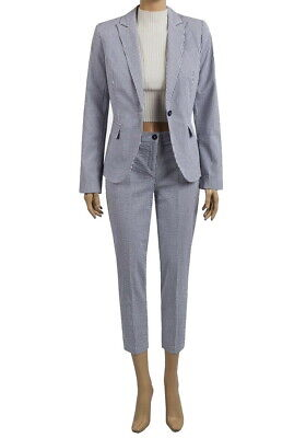 ex United Colors of Benetton Embossed Blue Seersucker Blazer Trouser Suit Set
