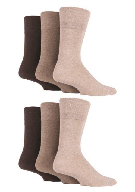 6 Pairs Mens Sockshop Diabetic Gentle Grip Socks 6-11 uk 39-45 EUR Brown Mix