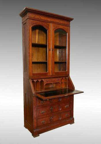 Antique Late 19th Century Burlwood Accented Walnut Drop Front Secretary Desk