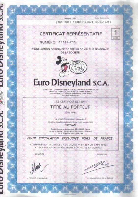 Original France Bond  1983 Euro Disneyland S.C.A. Deco