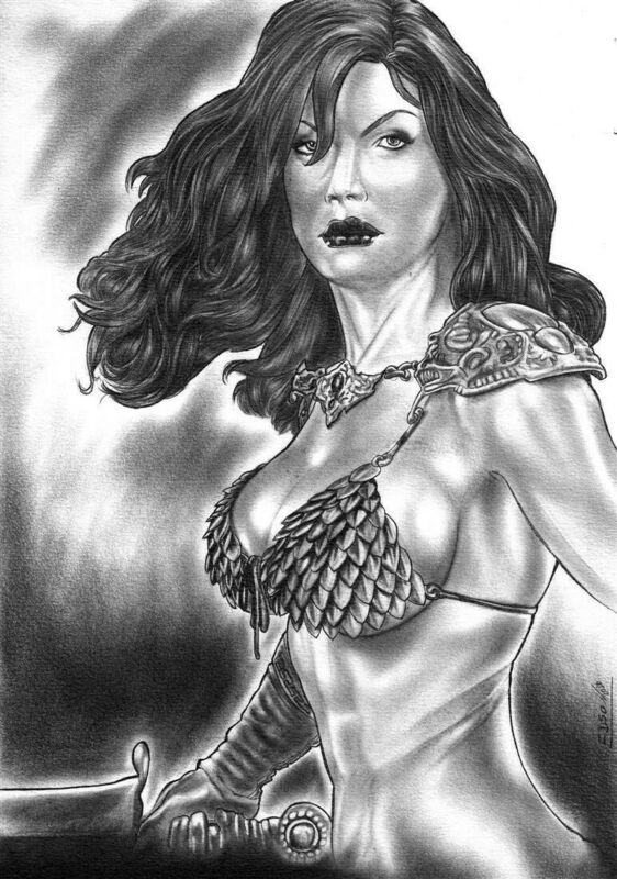 Red Sonja by Edson - Original Comic Art Drawing Commission She-Devil 8.5x11